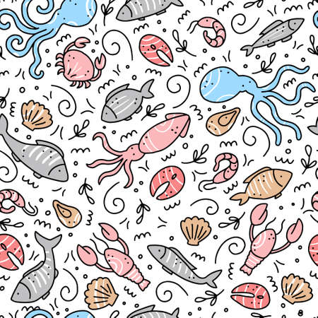 Hand drawn seamless pattern of seafood elements, fish, lobster, oyster, octopus, shrimp. Doodle sketch style. Sea food element drawn by dogital pen. Vector illustration for icon, menu, recipe design. Çizim