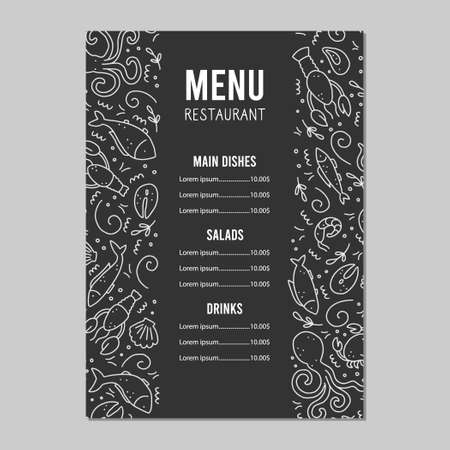 Hand drawn menu template of seafood elements, fish, lobster, oyster, octopus, shrimp. Doodle sketch style. Sea food element drawn by dogital pen. Vector illustration for icon, menu, recipe design.