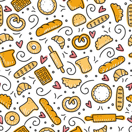 Hand drawn seamless pattern of bakery elements, bread, pastry, croissant, cake, donut. Doodle sketch style. Baking element drawn by digital pen. Vector illustration for banner, fabric, textile design.