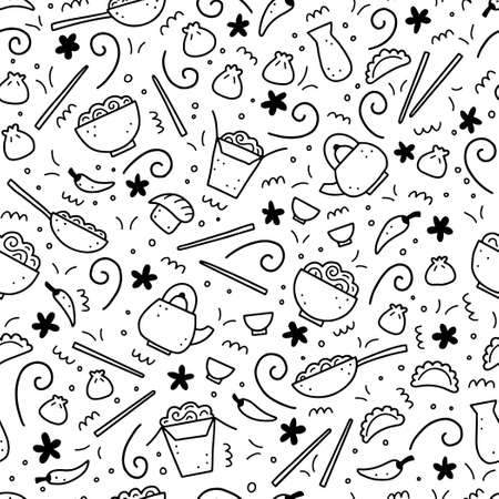 Hand drawn seamless pattern of Asian food elements, wok, ramen, noodle, soy. Doodle sketch style. Cuisine element drawn by digital pen. Vector illustration for menu, recipe, textile design.