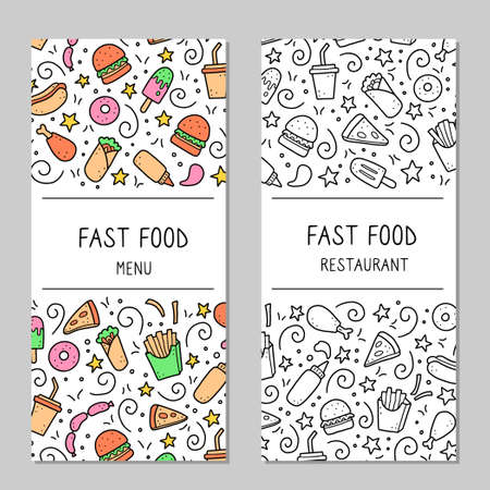 Hand drawn menu template of fast food elements, burger, pizza, sandwich, hamburger, snack. Doodle sketch style. Fast food element drawn by digital brush-pen. Vector illustration for menu, frame design
