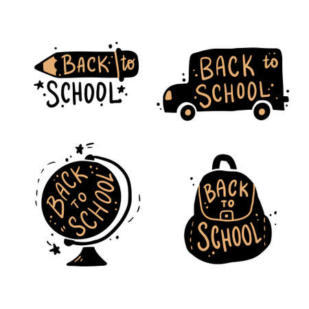 Cute hand drawn lettering Back to school quote by doodle sketch style. Vector illustration slogan for kids poster, children banner for school or education.