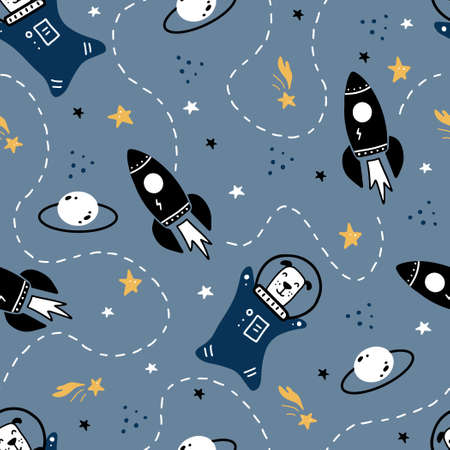 Hand drawn seamless pattern of space with star, comet, rocket, planet, dog astronaut element.