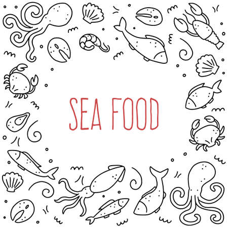 Hand drawn frame of seafood elements, fish, lobster, oyster, octopus, shrimp. Doodle sketch style. Sea food element drawn by dogital pen. Vector illustration for icon, menu, recipe design.  イラスト・ベクター素材