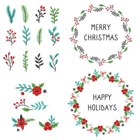 Set of christmas wreath floral frame for text decoration. Hand drawn style illustration. Ilustracje wektorowe