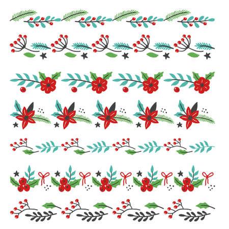 Set of christmas floral decoration border with flower, leaves, berries. Illustration for christmas frame and brush design. Vettoriali