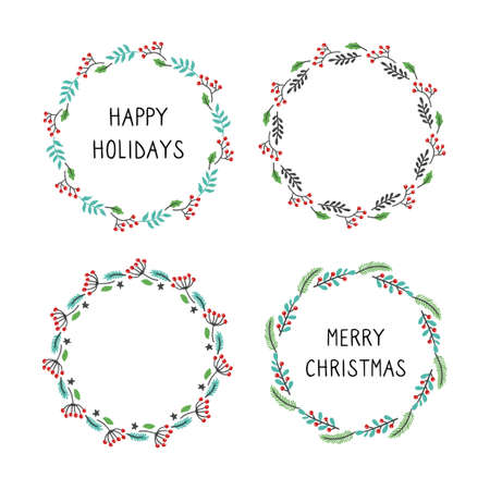 Set of christmas wreath floral frame for text decoration. Hand drawn style illustration. 向量圖像