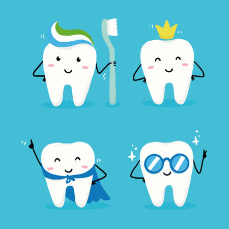 Set of happy tooth character with face. Dental kawaii style illustartion for kids and children dentist design. Ilustracja
