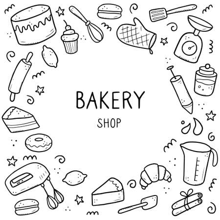 Hand drawn set of baking and cooking tools, mixer, cake, spoon, cupcake, scale. Doodle sketch style. Illustration for frame, banner, bakery site design.