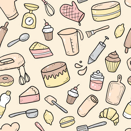 Hand drawn seamless pattern of baking and cooking tools, mixer, cake, spoon, cupcake, scale. Doodle sketch style. Illustration for textile, background, wallpaper design.