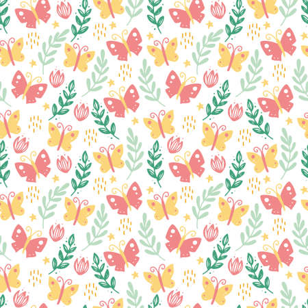 Cute seamless pattern with butterfly, leaves and floral elements Standard-Bild - 161794862