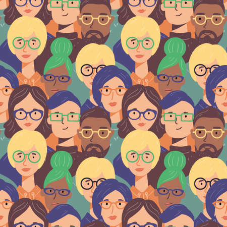 Seamless pattern of cartoon people faces. People have different hair, glasses, smile. Creative trendy hand drawn flat style.