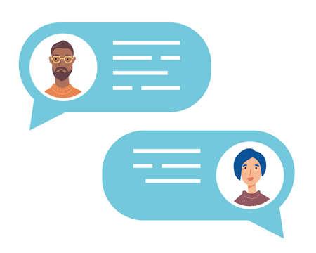 Speech bubble with talking people avatars. Ilustración de vector