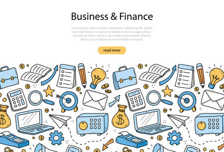 Hand drawn banner of business and finance elements, coin, calculator, piggy, money. Doodle sketch style. Business element drawn by digital pen. Illustration for banner, flyer, frame design template.