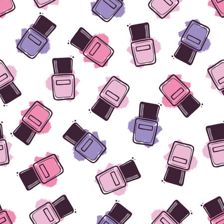 Hand drawn seamless pattern of beauty nail polish color bottle. Doodle sketch style. Vector illustration for beauty, makeup salon, store background, textile, wallpaper.