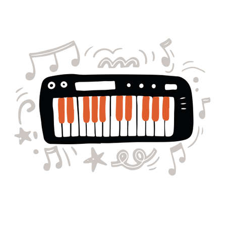 Vector illustration of minimalist black digital keyboard with orange and white keys hand drawn with flat style amidst abstract gray ornaments and notes as symbol of modern music creation