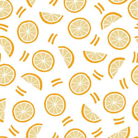 Hand drawn seamless pattern of simple orange, half orange. Doodle sketch style. Orange pattern for food shop, vegetable wallpaper, background, textile design.