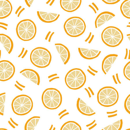 手拉的无缝的样式简单的橙色,半橙色。涂鸦素描风格。食物商店,菜墙纸,背景,纺织品设计的橙色样式。