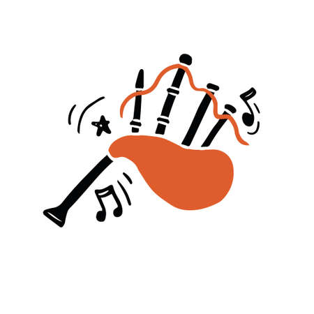 Vector illustration of authentic Scottish bagpipes hand drawn in minimalist flat style with black and orange colors playing traditional loud music amidst abstract notes and ornaments
