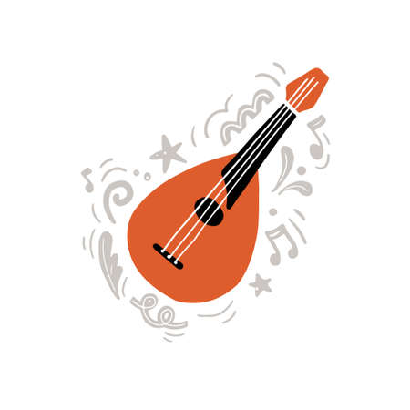 Traditional string instrument called mandolin hand drawn with minimalist flat style in orange and black colors amidst gray creative ornaments and notes as symbol of music creation