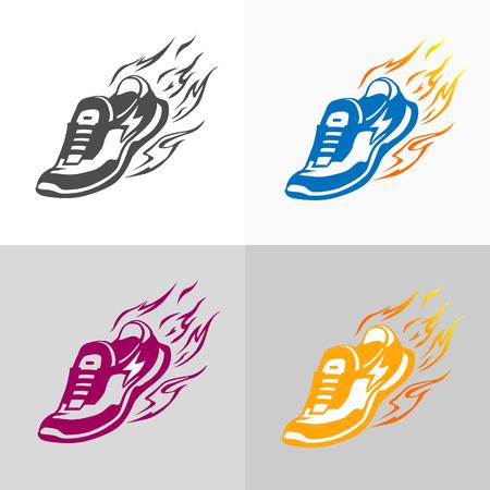 running shoe: Sport e fitness logo. Esecuzione di icone di scarpe.