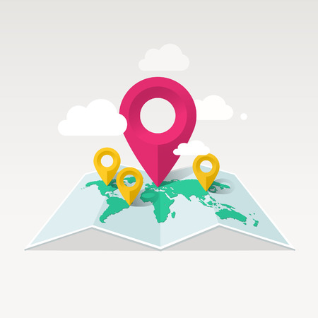 pin icon: Vector map illustration with markers and clouds Illustration
