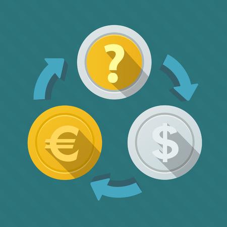 お金の動き。通貨のレート。  イラスト・ベクター素材