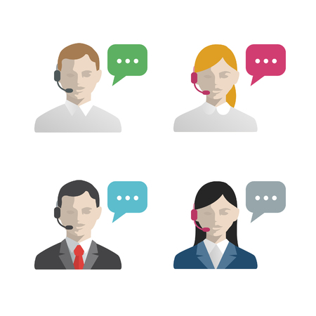 Support and call center avatar flat icons. Male and female.