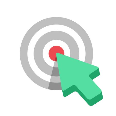 Flat Target icon with green arrow cursor. Stock Illustratie