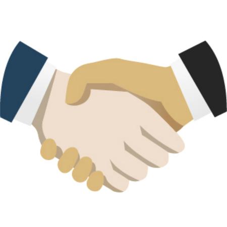 Handshake flat illustration. Isolated hands with shadow Illustration