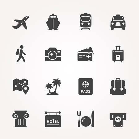 plate camera: Traveling and transport icon set.