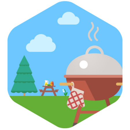 picnic table: BBQ Grill Party. The image of a grill against a lawn and a table for picnic.