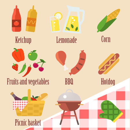 picknic: Vector set of color barbecue grill party icons