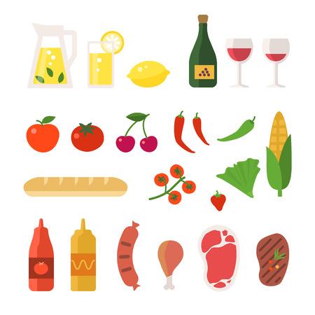 ピクニックの要素を設定します。ベクトル フラット イラスト食べ物や飲み物。