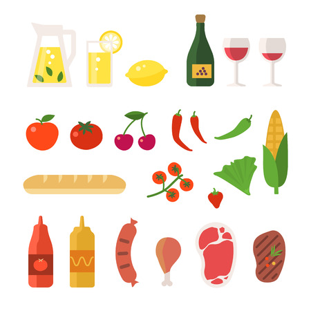Picnic elements set. Vector flat illustrations food and drinks.