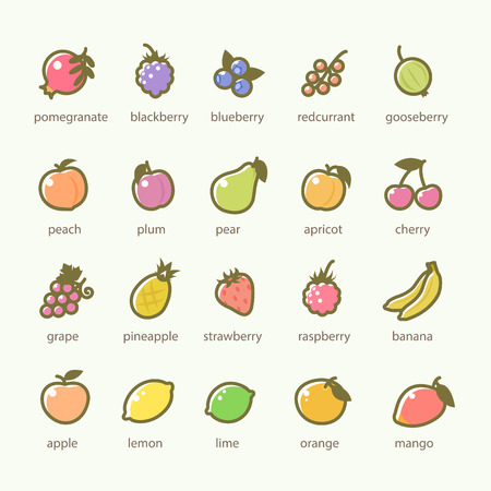 Set of Fruits and Berries icons Ilustracja