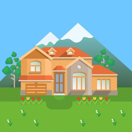 山の田舎の邸宅。ベクトル図  イラスト・ベクター素材
