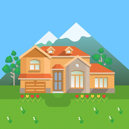 Country house in mountains. Vector illustration