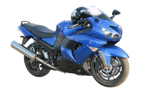 distances: The big beautiful dark blue brilliant motorcycle on a white background.