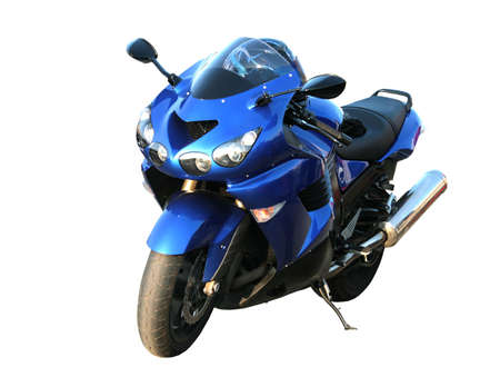 The big beautiful dark blue brilliant motorcycle on a white background.