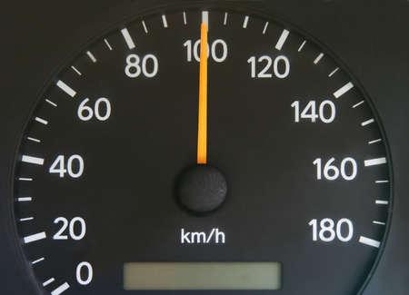 kilometres: Speedometer showing speed of hundred kilometres per hour.