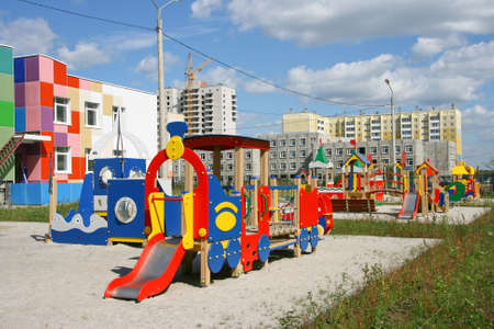 New playground in childrens to a garden. Stock Photo