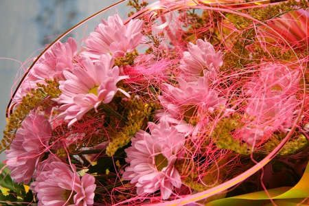 Beautiful bouquet of pink and yellow florets in against a blue wall Stock Photo - 7317333