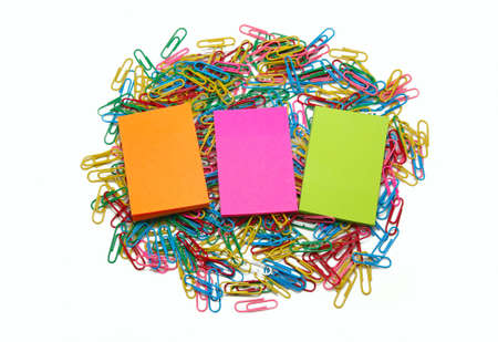 Three packs of colour stickers on paper clips it is isolated Stock Photo - 7324371