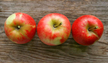 Three beautiful tasty apples on a wooden table photo