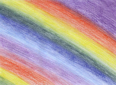 The rainbow drawn by colour pencils on a textural paper Stock Photo - 7841029