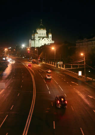 night Moscow prospectus and temple of the Christ of the Savior photo