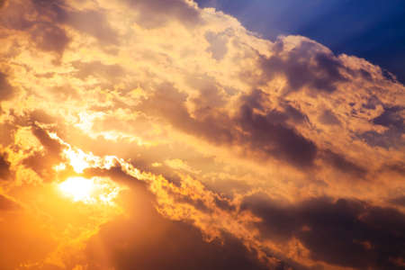 Beautiful bright sunset with cumulus clouds. Stock Photo - 12331998