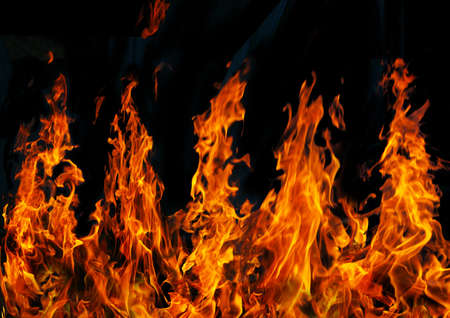 incendiary: Five hot red fires on  black background