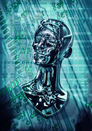 robot head: Portrait metal brilliant mirror girls  dummy on  digital background
